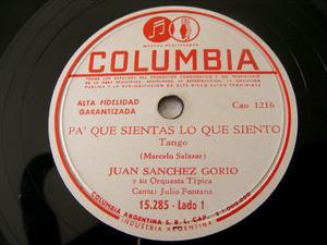 JUAN SANCHEZ GORIO Columbia 15285 TANGO 78 ESTE ADIOS