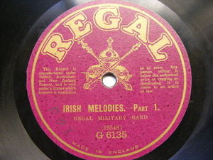 REGAL MILITARY BAND Regal G-6135 78rpm IRISH MELODIES