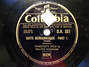 GIESEKING Columbia 337 2x78rpm Set DEBUSSY Suite Bergam
