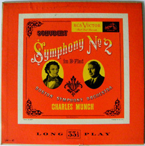 "CHARLES MUNCH & BSO Victor LM-41 SCHUBERT Symp#2 10"" LP"