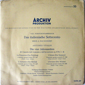 SCHNEIDERHAN & BAUMGARTNER Archiv 13076 VIVALDI 4Season