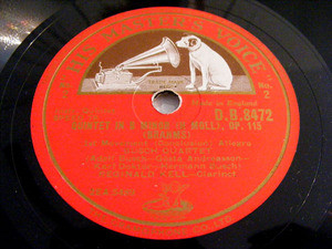 BUSCH QUARTET & KELL Hmv 8472 3x78rpm Set BRAHMS NM