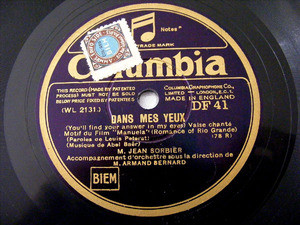 J SORBIER & LUCCHESI Orch Columbia 41 78rpm LE CHANT