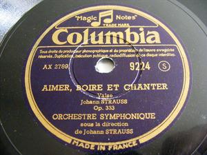 JOHANN STRAUSS Conducts His Work COLUMBIA 9224 78rpm