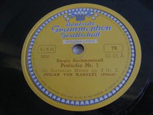 JULIAN VON KAROLYI Dgg 60-05 PIANO 78rpm RACHMANINOFF