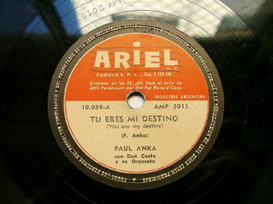 PAUL ANKA & DON COSTA Ariel 10059 78rpm YOU ARE MY DEST