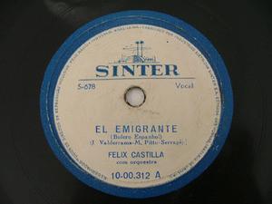 FELIX CASTILLA Sinter 1000312 LATIN 78rpm ANDALUCIA MIA