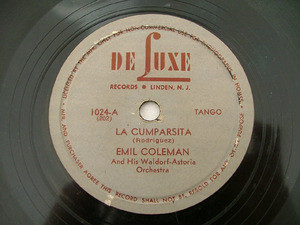EMIL COLEMAN De Luxe 1024 TANGO 78rpm LA CUMPARSITA