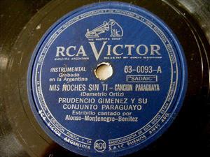 P. GIMENEZ Victor 0093 PARAGUAY 78rpm MIS NOCHES SIN TI