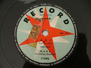 MARA Record 71095 LATIN 78rpm ASI / NO ME DIGAS MAS