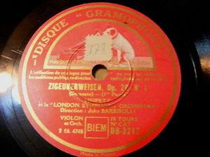JASCHA HEIFETZ Gramophone 3212 VIOLON 78 SARASATE Ziguenerweisen NM