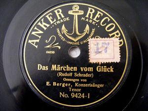 E. BERGER Anker 9424 OPERA 78rpm MEINLE PERLE DIST BLU