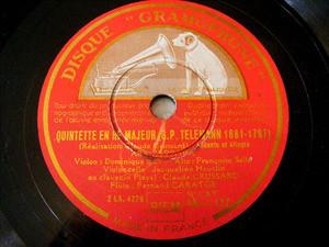 HEUCLIN, CRUSSARD Gramophone 11137 78rpm TELEMANN QTET