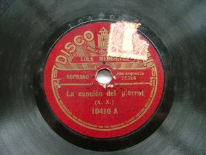 LOLA MEMBRIVES Nacional 10410 TANGO 78rpm CANCION DE PIERROT / QUE LA MAR ES MUY TRAIDORA