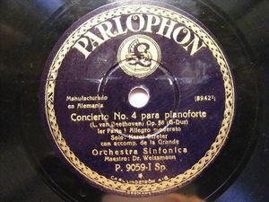 Dr. WEISMANN & KAROL SZRETER Parlophon 9059 PIANO 78 WLADIGEROFF Vardar
