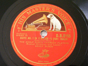 BUSCH CHAMBER PLAYERS Hmv 8195 3x78rpm Set BACH