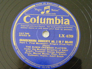 BUSCH CHAMBER PLAYERS Columbia 439 2x78rpm Set BACH NM