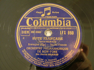 DARIUS MILHAUD Columbia LFX 860 2x78rpm Set SUITE FRANC