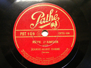 JEANNE MARIE DARRE Pathe 109 PIANO 78rpm LISZT