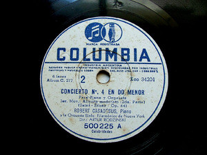 CASADESUS R. piano S-SAENS Arg COLUMBIA 500225 78rpm