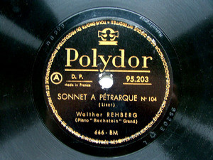 BRAILOWSKI / REHBERG Polydor 95203 PIANO 78rpm LISZT Reve D'amour / Sonnet A Petrarque