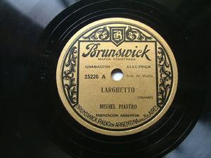 MISHEL PIASTRO Rare Arg Brunswick 15220 VIOLIN 78rpm