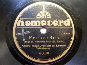 PERRON TANZ ORCH Homocord 4-3078 TANGO 78rpm RECUERDOS