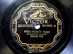 ALBERTO VILA Scr VICTOR 80965 TANGO 78rpm ADIOS PUEBLO / MAMA YO QUIERO UN NOVIO EX