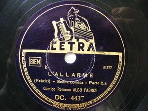 ALDO FABRIZI Cetra DC. 4437 ITALIAN COMIC 78 L'ALLARME