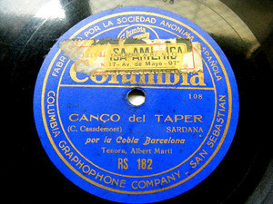 COBLA BARCELONA Columbia 182 SPANISH 78rpm CANCO DEL