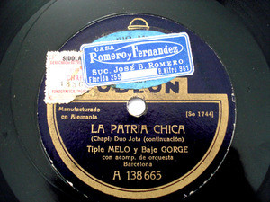 MELO & GORGE Odeon 138664 SPANISH 78rpm LA PATRIA CHICA