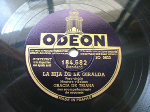 GRACIA DE TRIANA Odeon 184582 SPANISH 78rpm TOMA VINO DE MI VINO
