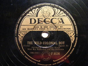 PATRICK O'HAGIN Decca F.9536 IRISH 78 THE WILD COLONIAL BOY / AN ECHO OF IRELAND