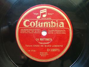 ENZO DE MURO LOMANTO Columbia 12571 OPERA 78rpm A MARECCHIARE