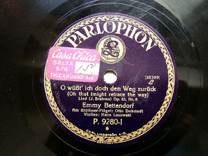 EMMY BETTENDORF Parlophon P.9280 78rpm BRAHMS