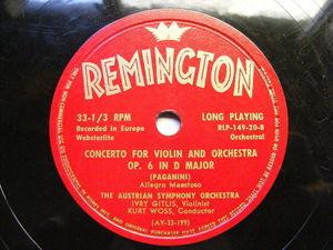 KURT WOSS & IVRY GITLIS Remington 149-20 33rpm LP PAGANINI Concerto