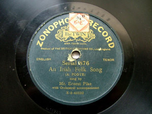ERNEST PIKE tenor Green ZONOPHONE 42333 10'' 78rpm
