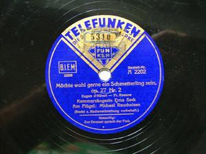 ERNA SACK & RAUCHEISEN Telefunken A2202 OPERA 78rpm