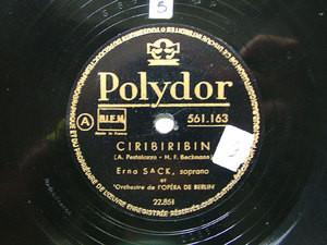 ERNA SACK Polydor 561163 OPERA 78rpm CIRIBIRIBIN