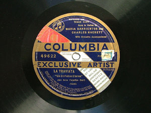 BARRIENTOS & HACKETT Columbia 49622 OPERA 78rpm TRAVIAT