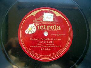"""FARRAR & SCOTTI Mozart/Puccini VICTROLA 8039 12"""" 78rpm"""