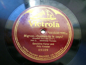 "FARRAR & KREISLER Mignon VICTROLA 89109 1Side 12"" 78rpm"