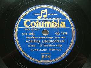 AURELIANO PERTILE Columbia 7178 OPERA 78rpm Cilea
