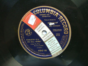 BARRIENTOS & HACKETT Columbia 49616 OPERA 78rpm VERDI