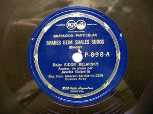 SIDOR BELARSKY Priv VICTOR P898 HEBREW 78rpm SHABES