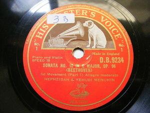 HEPZIBAH & YEHUDI MENUHIN hmv 9234 VIOLIN 3x78 Set BEETHOVEN Sonata 10