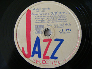 GENE NORMAN Jazz Selection 575 78rpm BODY & SOUL