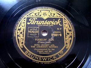 BING CROSBY & ANDREW SISTERS Brunswick 02881 JAZZ 78rpm