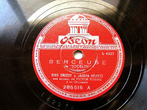 B. CROSBY & J. HEIFETZ rare Arg ODEON 285515 JAZZ 78rpm