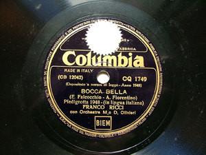 FRANCO RICCI Columbia CQ 1749 ITALIAN 78rpm BOCCA BELLA